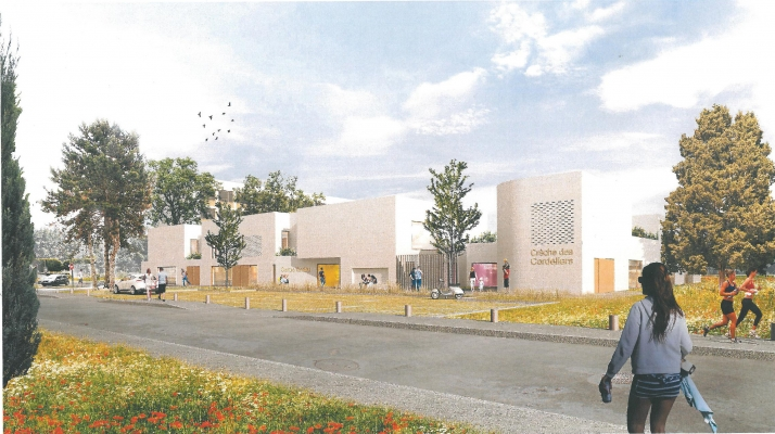 Ebauche de la perspective du nouveau bâtiment depuis la rue Rodin © Ateliers O-S Architectes