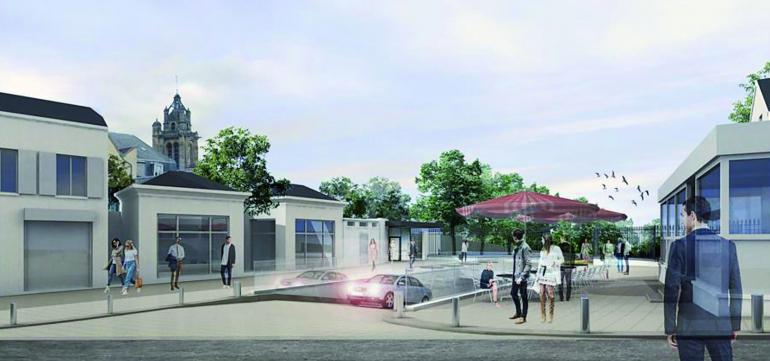 Vue de la place du Souvenir © PHASIS Architectes, PAULE GREEN Paysagistes, Bea et son enseigne GREEN