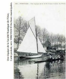 Carte postale.Société de Nautique de l'Oise - Vers 1900 © Bibliothèque municipale de Pontoise