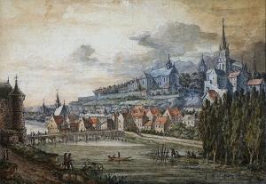 """""""Pontoise"""" - Aquarelle sur papier de Louis Signy - 1792 © Musée Tavet-Delacourt"""