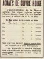 Affiche informant que l'administration de la Guerre cherche des vendeurs de cuivre rouge (archives municipales)