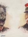 """Carte postale patriotique """"Guillaume pleure, Joffre rit"""""""