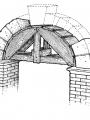 Coffrage en bois temporaire pour une construction d'arche