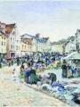 """Ludovic Piette (1826-1878), """"Le marché aux légumes, Pontoise"""" Place du Petit Martroy, 1877 - Collection Musées de Pontoise"""