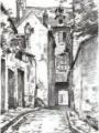 """Mine de plomb de Paul-louis Beaumont, """"Rue des Moineaux"""" 18 octobre 1898, Musée"""
