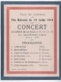 Programme du concert de l'Harmonie Libre du 14 juillet 1914