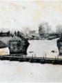 Arche centrale du pont détruite pendant la guerre de 1870-1871. Carte postale, septembre 1870. Bibliothèque de Pontoise